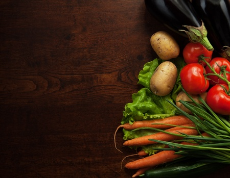 farmers market: abstract design background vegetables on a wooden background Stock Photo