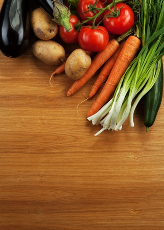 abstract design background vegetables on a wooden background Stock Photo - 13356309