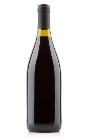 Red wine bottle isolated on white background. Blank space for label.