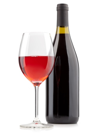 Red wine bottle  and glassisolated on white background.