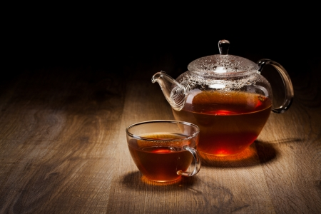herb tea: Tea Set on a Wooden Table Stock Photo