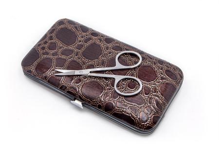 manicure set: manicure scissors on closed manicure set case