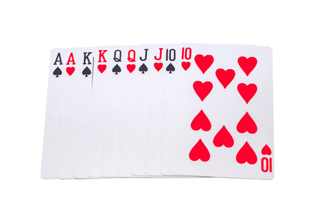 Playing cards on a white background Stock Photo