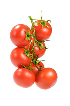 tomates: tomates rouges sur une branche Banque d'images