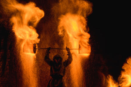 Fire show amazing at night Inferno