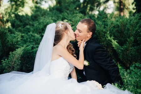 kissing love: wedding, beautiful young bride sit together with groom in love on green grass kissing, park summer outdoor Stock Photo