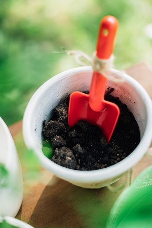 market bottom: Flower pot with soil and trowel red