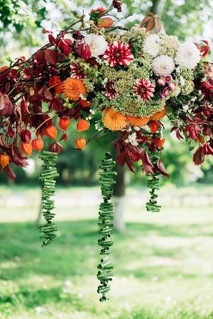 formalization: Rustic flower garden adorn the wedding ceremony Stock Photo