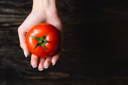wenge: tomato in hand on a wooden background Stock Photo