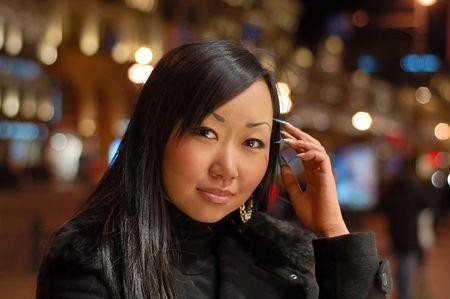 brune: Smiling woman Stock Photo