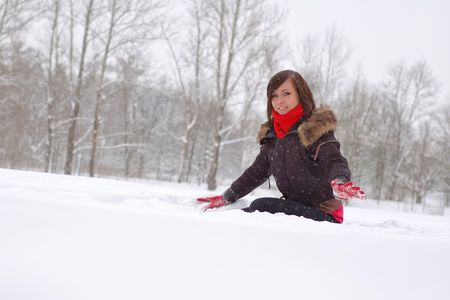 Woman play in snow photo