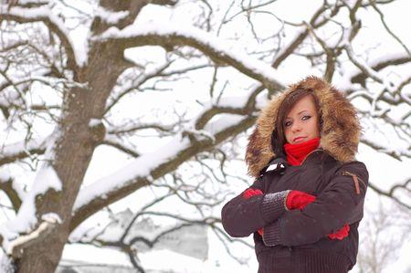 Woman posing at winter utdoors photo