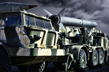Spoky military transport with rockets photo