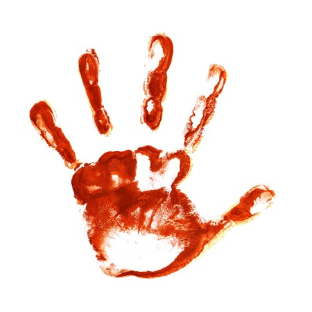 bloody: Spooky hand print isolated on white