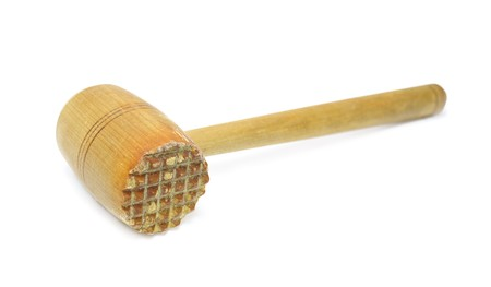 Used wooden meat hammer isolated on white Stock Photo - 7100802
