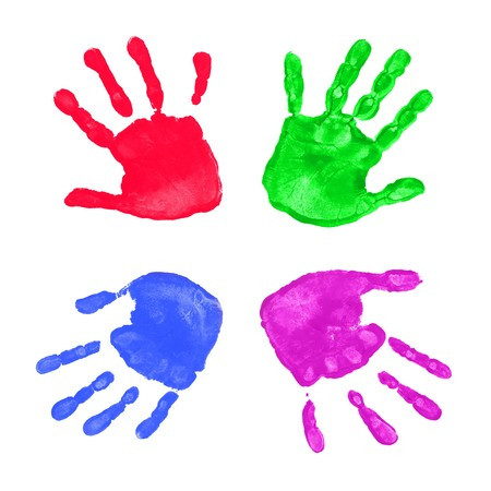hand colored: Set of colorful hand prints isolated on white background