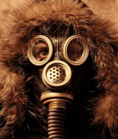 Man in respirator photo