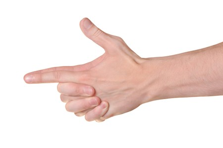 Hands gesture isolated on white background photo