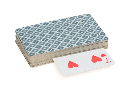 Pack of playing cards isolated on white background