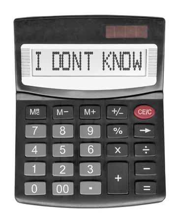 to know: Black stupid calculator isolated on white background Stock Photo