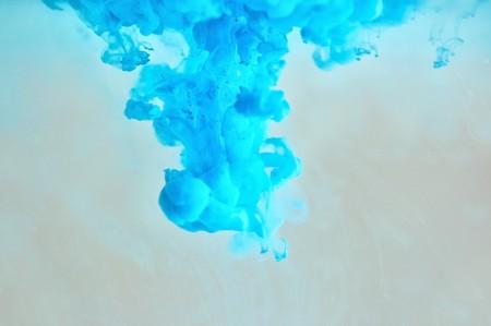 pollution art: Soft blue ink pattern underwater