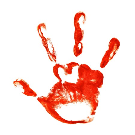 chiromancy: Spooky three-fingered hand print isolated on white