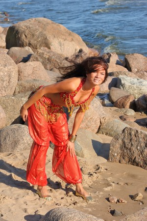 indian dance: Woman posing in red indian dress