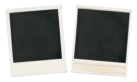 Set of old blank cards isolated on white photo