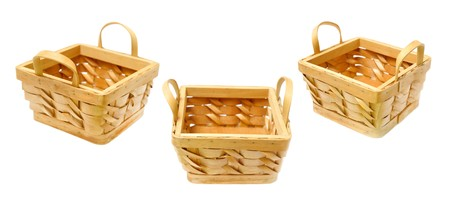 Set of baskets isolated on white background photo