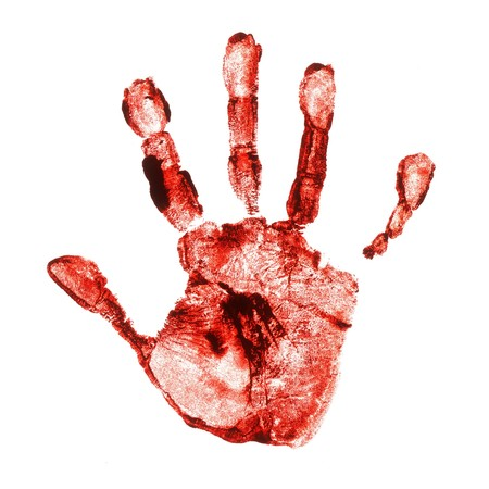 bloody: Spooky hand print isolated on white background