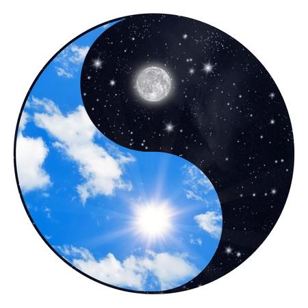 sonne mond und sterne: Yin-Yang-Symbol - Sonne und Mond  Lizenzfreie Bilder
