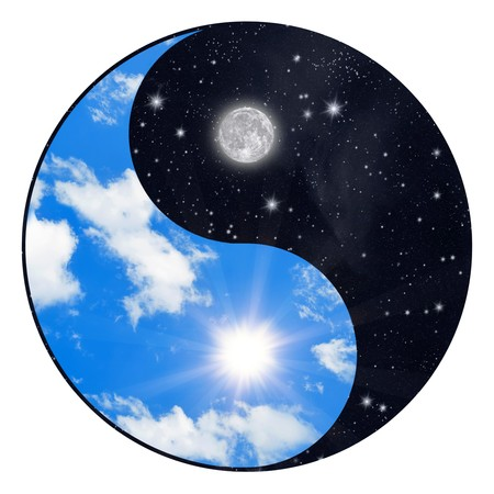 versus: Yin Yang symbol - sun and moon Stock Photo