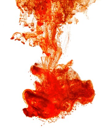Ink of blood in water isolated background