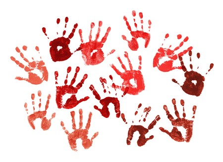 Bloody spooky hands print over white background photo