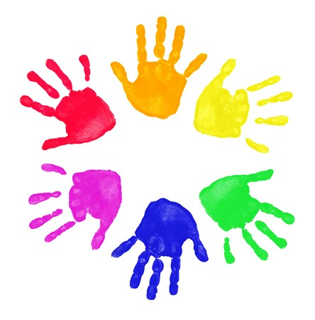 Set of colorful hand prints in rainbow order isolated on white background Stock Photo - 7967532
