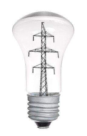 High-tension power line in light bulb isolated on white background photo