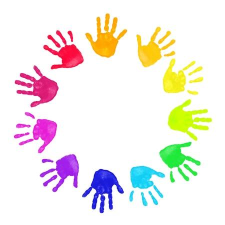 manos sucias: Conjunto de impresiones de la mano colorido en orden de arco iris aislados sobre fondo blanco