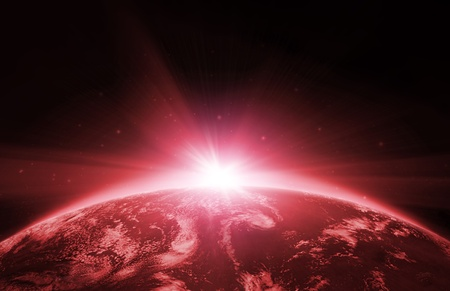 Planet earth with sunrise in the space Stock Photo - 8387710