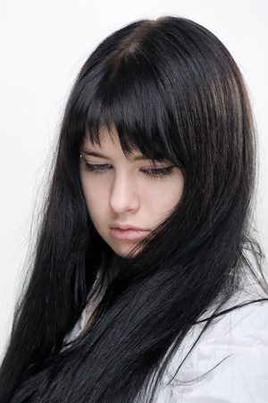 Anime girl on white background photo