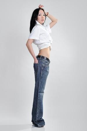 Asian girl on white backgroud photo