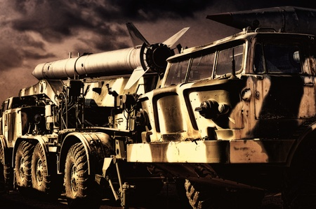 Vintage military transport with rockets photo