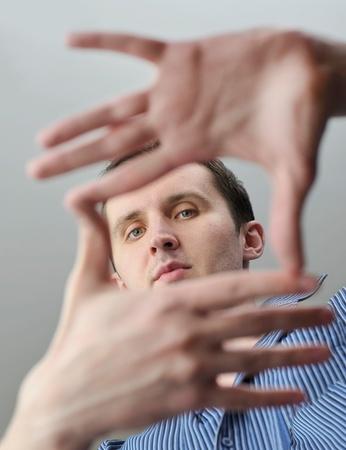 purposeful: Man with hand gesture