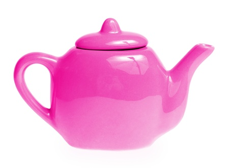 Violet teapot isolated on white background photo