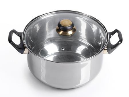 Metallic pan on isolated on white background photo
