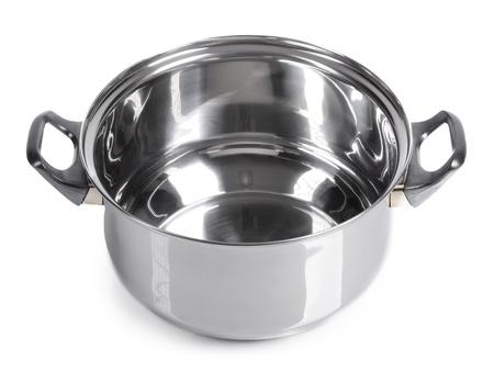 Empty pan on isolated on white background photo