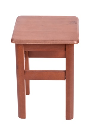 Wooden simple stool isolated on white background photo