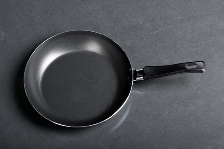 Frying pan on black background photo