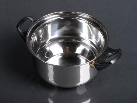 Metallic pan on black background photo