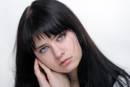 ojos anime: chica sobre fondo blanco Foto de archivo