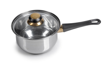 Deep frying pan on isolated on white background photo
